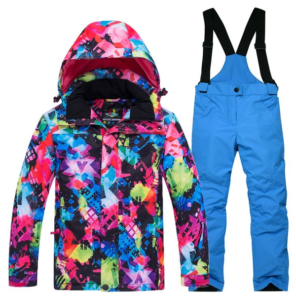 2018 Kids Ski Suit Children Windproof Waterproof Colorful Sport Suits for Girls Boy Snowboard Jacket Pants Winter Clothes Sets