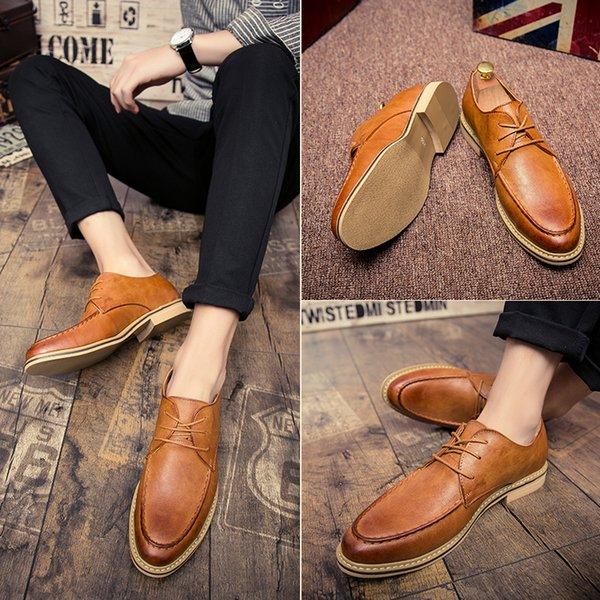 New 2019 Luxury Leather Brogue Mens Flats Shoes Casual British Style Men Oxfords Fashion Brand Dress Shoes For Men