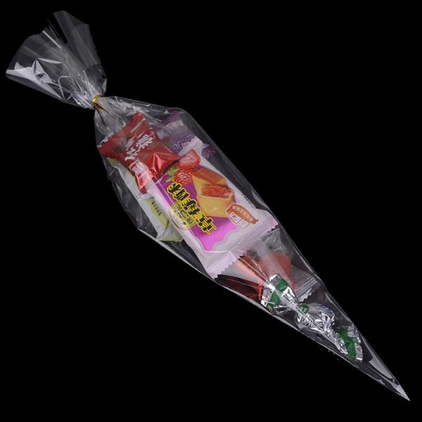 50 stücke Klar Kegelförmige Cellophantüten Süßigkeiten Paket Tasche Zucker Popcorn Blume Geschenk Taschen DIY Gefälligkeiten