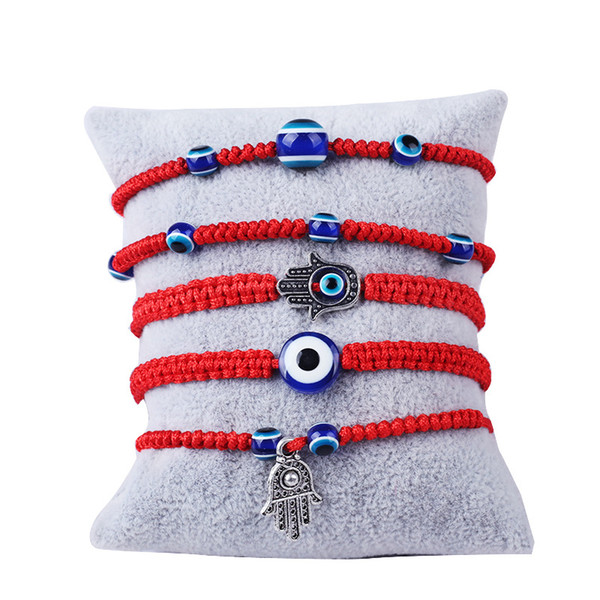 Pulsera tejida a mano Pulsera afortunada Kabbalah Hilo de hilo rojo Pulseras Hamsa Pulsera azul turca del ojo malvado Joyería Fátima Pulsera bonita
