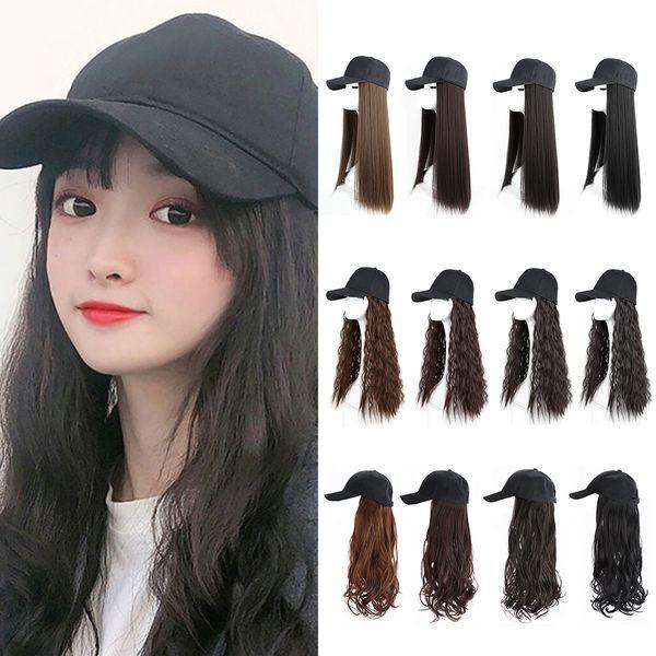 Nueva muchacha de las mujeres del sombrero de béisbol con pelo sintético Mujer largo rizado pelo frívolo invisible onda grande de la peluca femenina neta de Red Hat peluca