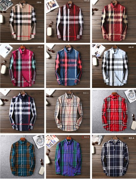 #6563 British Royal House Designer Classic BBR Plaid Men Shirts Long Sleeve Medusa Dress Shirt Pure Men's Casual Shirts Fashion Oxford Shirt