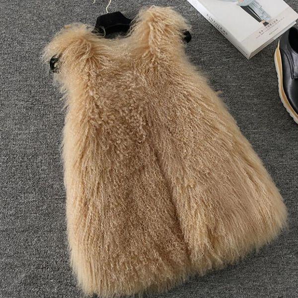 Natural Ladies Real Lamb Fur Vest Women Party Waistcoat jacket Gilets Female vest colete de pele de coelho Sleeveless Coat