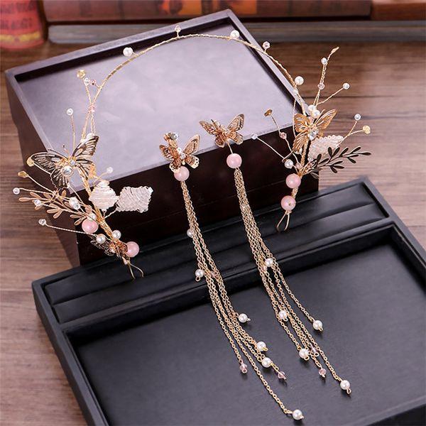 Beautiful Butterfly Pearls Headband Earrings Crowns Crystals Tiaras Beads Bridal Tassel Hairwear Head Pieces Bridal Wedding Hair Jewelry