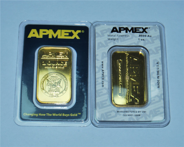 best selling High quality gold plated Apmex Bullion 1 oz APMEX Gold Bar Non-Magnetic Plated 24k Gold Business Gift Collection