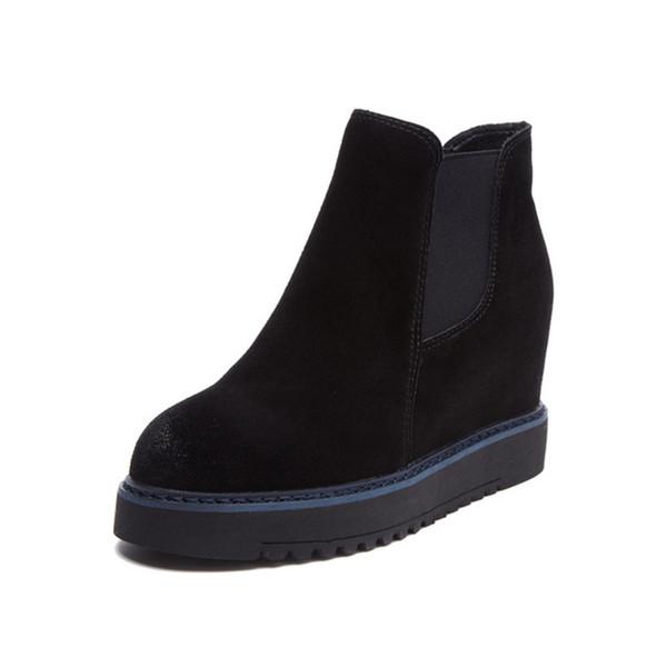 Bottines pour femmes 2019 Automne Cuir Véritable Talon Caché Femme Bottes Compensées Chaussures Pour Femme Botte D'hiver Semelle En Caoutchouc Chaussures