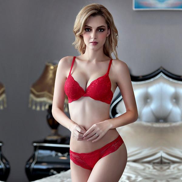 Women Sexy Lace Bra Set Fashion Push Up Underwire 3/4 Cup Lingerie Back Closure Underwear Bras Lady Adjustable Strap Bralette W1716
