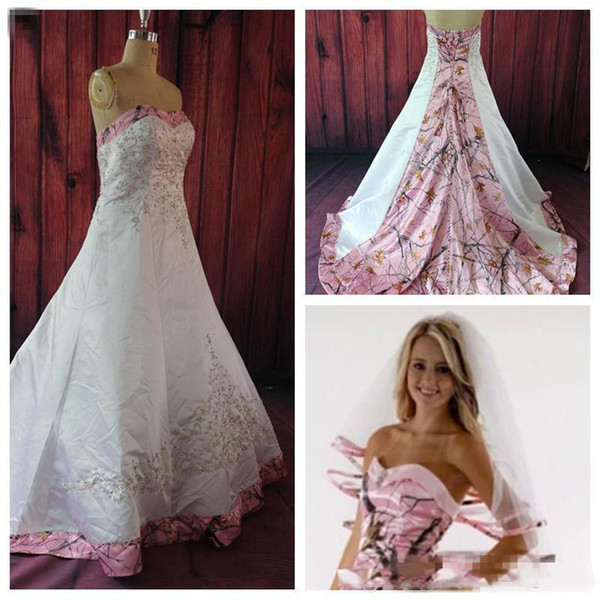 Discount Custom Made Colored Pink Camo Wedding Dresses A Line Court Train  Sweetheart Satin Lace Up Bridal Gowns Plus Size Wedding Dress Sweetheart A  ...