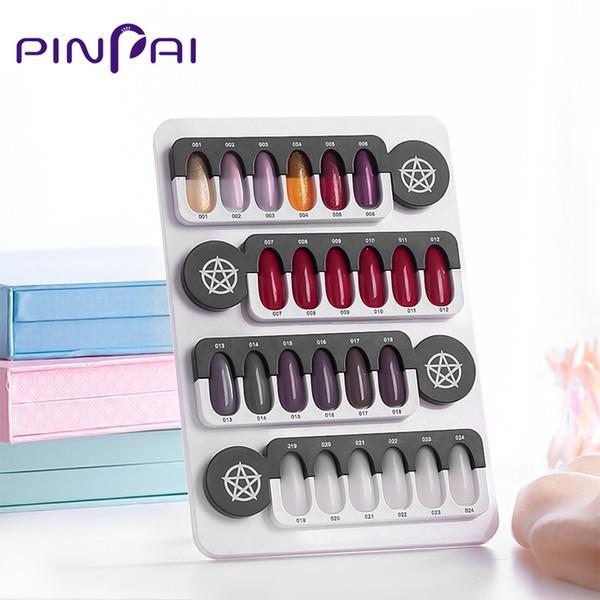 24 dicas unhas de gel polonês display gráfico salão de acrílico gel magnético prego exibição cor mostrando carta cartão de prateleira