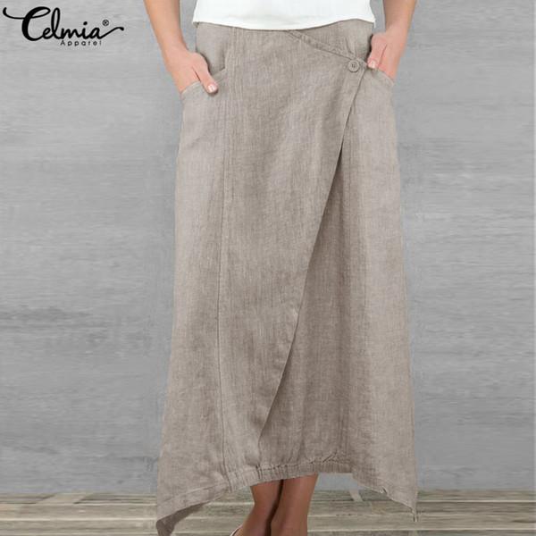 Celmia Vintage Women Maxi Skirts 2019 Summer Casual Loose High Waist Asymmetrical Linen Skirt Plus Size Long Pleated Beach Skirt Y19060301
