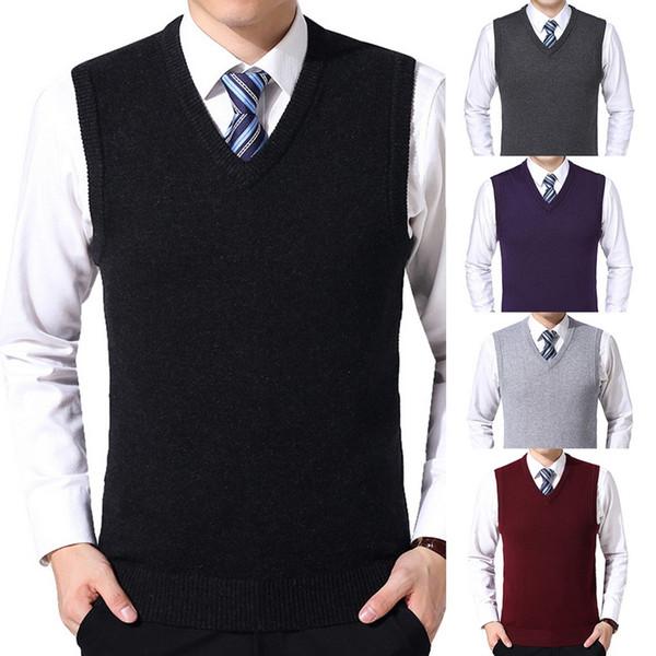 HEFLASHOR 2019 Mens Sólidos Sweater Vest Homens Lã pulôver Marca V-Neck mangas Hombre Knitwear Vest roupas de inverno casual tops