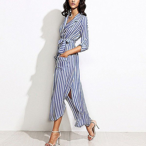 Womens Elegant blue White Vertical Stripe slim Belted Deep V Neck Long Sleeve Shirt Dress Casual Top Tee Side fork Dress