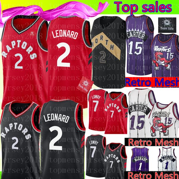3a6097106 Toronto 2 Kawhi   Leonard Raptors Jersey Retro Mesh 15 Vince   Carter 1 McGrady  Jersey New Kyle 7 Lowry Basketball Jerseys Cheap sale