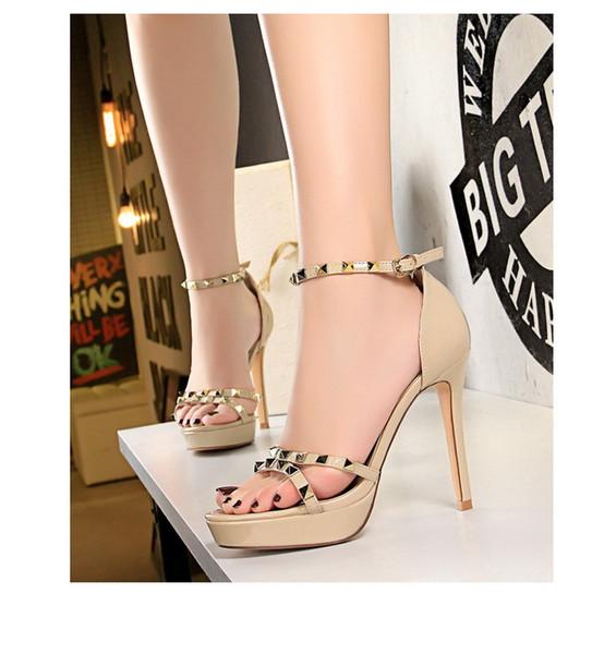 mulheres rebite sandálias plataforma 11.5cm super alto calcanhar aberto senhoras dedo do pé feminino grandes senhora clube de noite de festa sexy mais size34-43 sapato tira no tornozelo