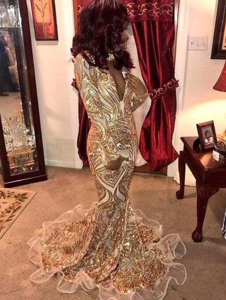 Gold Mermaid Evening Dresses 2019 Black Grils Sequins Deep V Neck Formal Party Gown Sheath Plus Size Pageant Dresses sweep train Custom Made