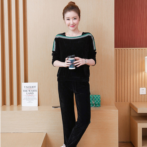 YICIYA tracksuit for women black velvet 2 piece set plus size big 5xl striped outfits pant suits and top autumn winter clothing