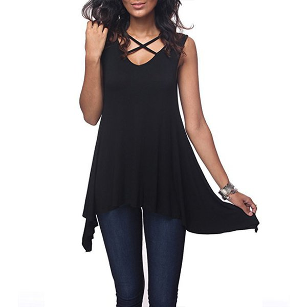2019 Women Casual Tops Summer Solid Sleeveless Tank Tops Sexy Cross V Neck Hollow Out Tee Top Tunic Loose T Shirt Tops 3xl
