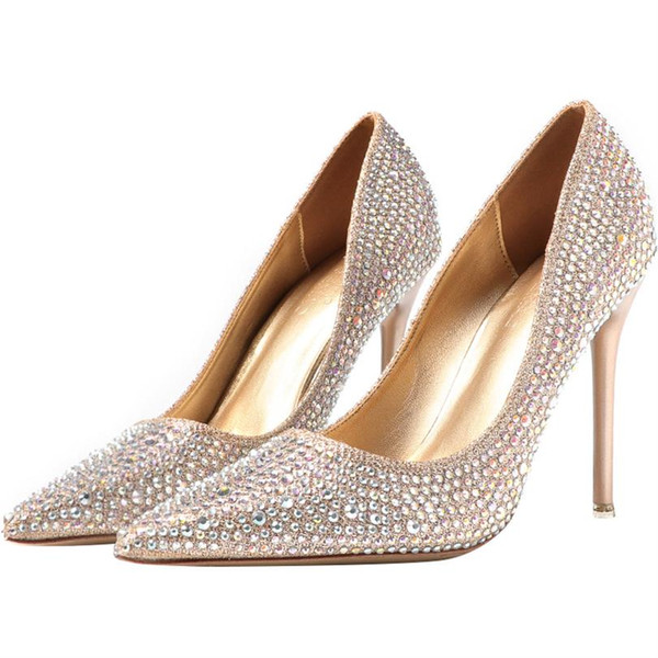 Luxury Gold Silver Crystal Women Designer Shoes High Heels 2019 Fashion Bling Bridal Shoes Pointed Toe for Wedding Real Picture Ladies Heels