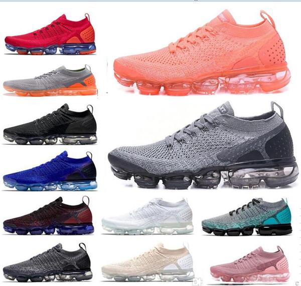 2019 novo carro-chefe Sapatos homens mulheres novas Preto cinza formadores brancos flykint azul-de-rosa de tricô vapor 2.0 de designer sneakers casua