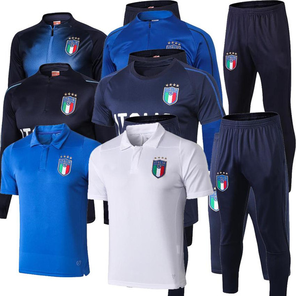 2018 2019 Survetement football Italy tracksuit italia training kits Soccer Chandal 17 18 italian training shinny tight pant sweater suit