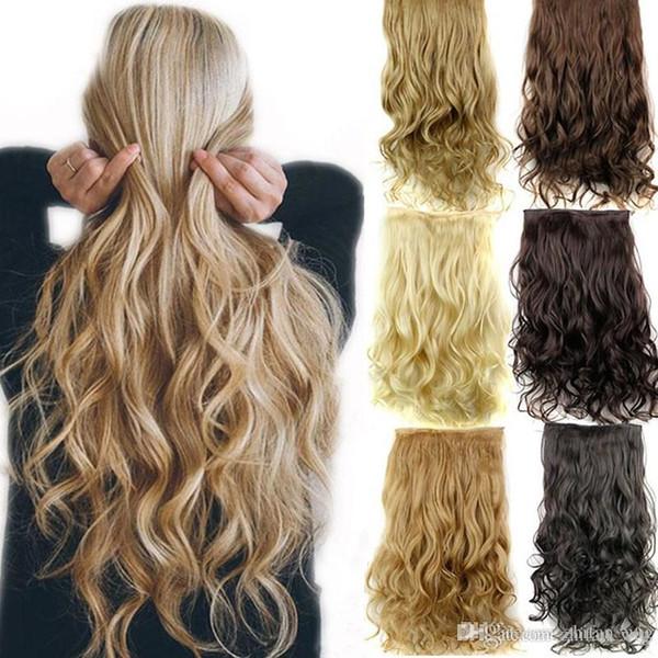 Extensions de cheveux synthétiques Fermeture ondulée UK Extensions de cheveux Couleurs 18-20 pouces Différentes Couleurs Bouclés De Mode Trame Pour Lady