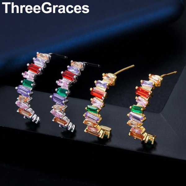 threegraces fancy multicolor irregular cz stone european gold color half round rainbow hoop earrings for women jewelry er328