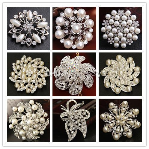 Bride Different Styles Wedding Bouquet Imitation Pearl Brooch Silver Rhinestone Flowers Brooches Pins Christmas Gift 1221
