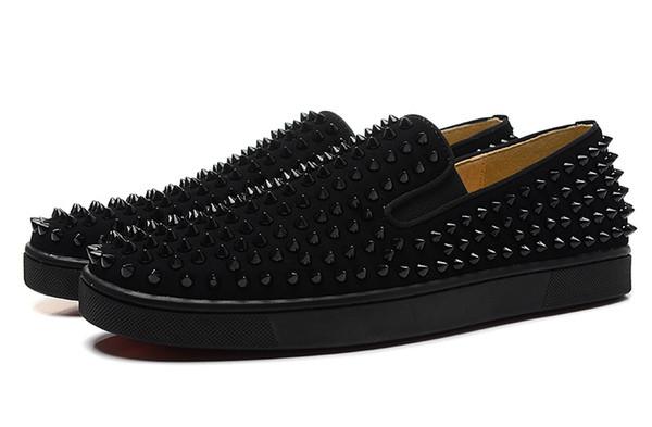 Tasarımcı moda Erkekler Kadınlar Için Çivili Spike Flats ayakkabı glitter Parti Severler Hakiki Deri rahat Ayakkabılar