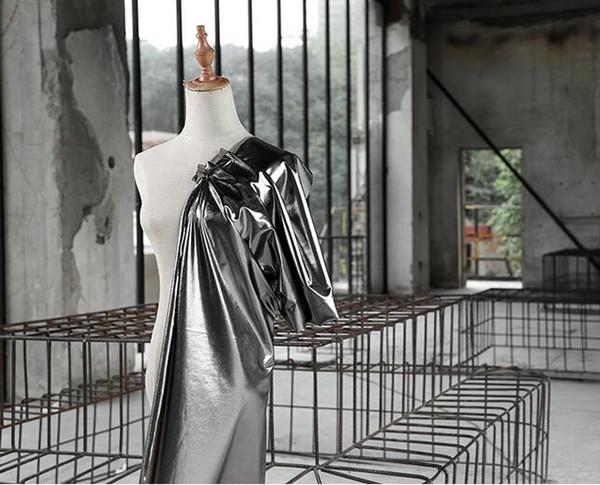 Bright matte black mirror coated knit fabric / bright metallic pu leather fabric wedding dresses prom tweed thin fabric A016