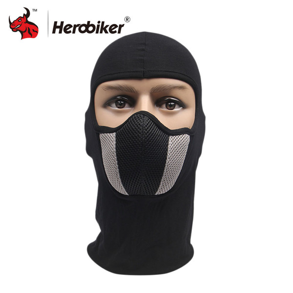 Protective Gears Motorcycle Face HEROBIKER Cotton Grid Motorcycle Face Mask Men's Outdoor Sports Windproof Dustproof Red Mask