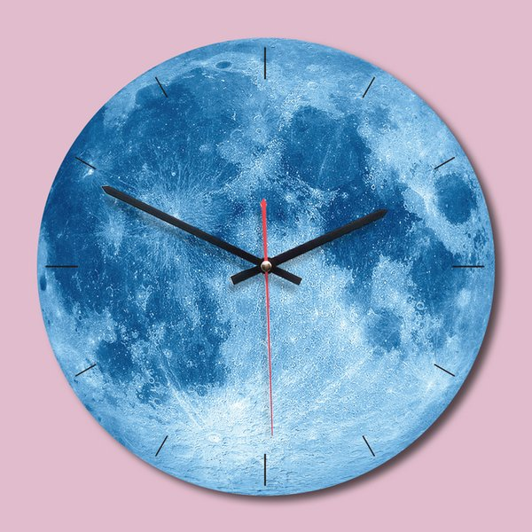Creative Painting Wall Clock 11 Inch Moon Wall Clock Living Room Acrylic Wall Decoration Mute Clocks Unique Gift