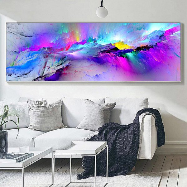 Large Abstract Canvas Wall Art Colorful Clouds Oil Painting on Canvas, Long Banner Canvas Poster for Living Room Bedroom Wall Decoration