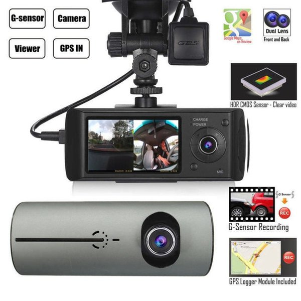"""Dual Camera Car DVR R300 with External GPS and 3D G-Sensor 2.7"""" TFT LCD X3000 FHD 1080P Cam Video Camcorder Cycle Recording"""