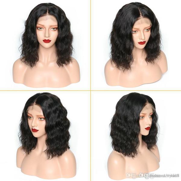 Perruques de fil à haute température avant de dentelle plumée pour les femmes noires sans colle perruque brésilienne ondulée court Bob perruques wsad