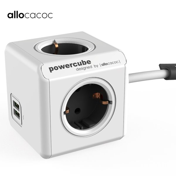 Allocacoc Extension Powercube Travel Adapter Smart Eu Plug Usb Socket Electric 4 Outlets Multi Power Strip 1.5m 3m Cable J190517