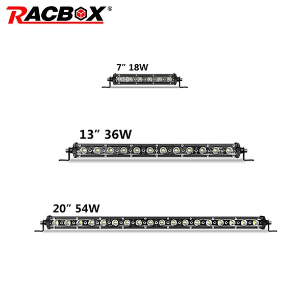 20 13 7 pollici sottile fila singola ha condotto la barra luminosa spot di inondazione mini 54w 36w 18w LED luce di lavoro per fari moto ATV SUV 4WD
