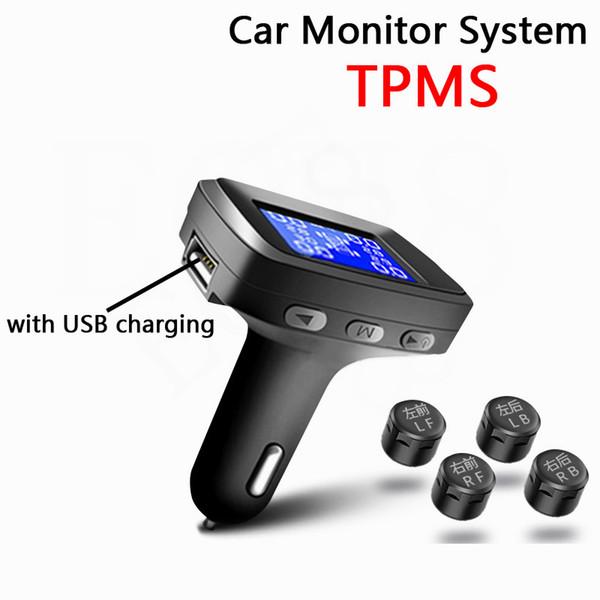 top popular Tire Pressure Monitoring System Cigarette Lighter Plug TPMS LCD Screen Display 4 External or Internal Sensors Auto Tyre Alarm 2021