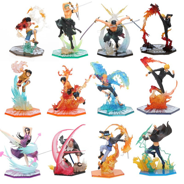 17-20cm Anime One Piece Roronoa Zoro Luffy Ace Boa Sanji shanks sabo PVC Action Figure toys One Piece battle ver Figuarts Zero