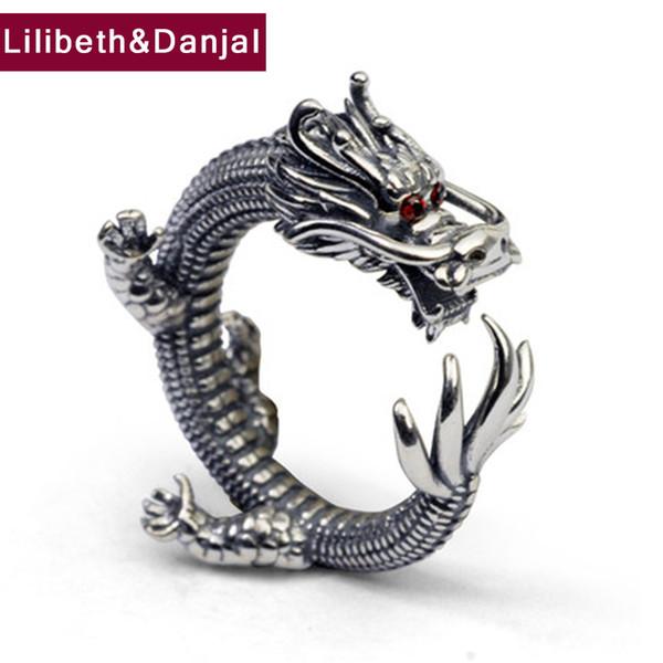 Erkek ve Kadınlar Thumb Büyük Parmak Toptan Vintage Tayland için ine Takı Yüzük Ejderha Yüzük% 100 Gerçek 925 Gümüş Moda Takı ...