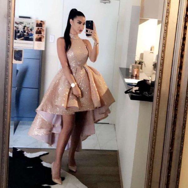 Sexy Plus Size African Black Girl Short Gold Prom Dresses 2020 Homecoming Cocktail Dresses Vestido De 15 Anos Dubai Arabic Evening Gowns