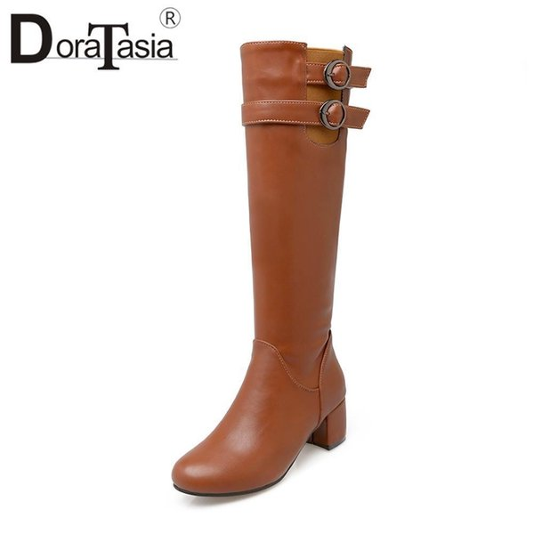 DoraTasia New Fashion Metal Decoration 5cm Med Square Heels Solid Warm Zip Knee-high Boots For Women Nice Plus Size 22-52
