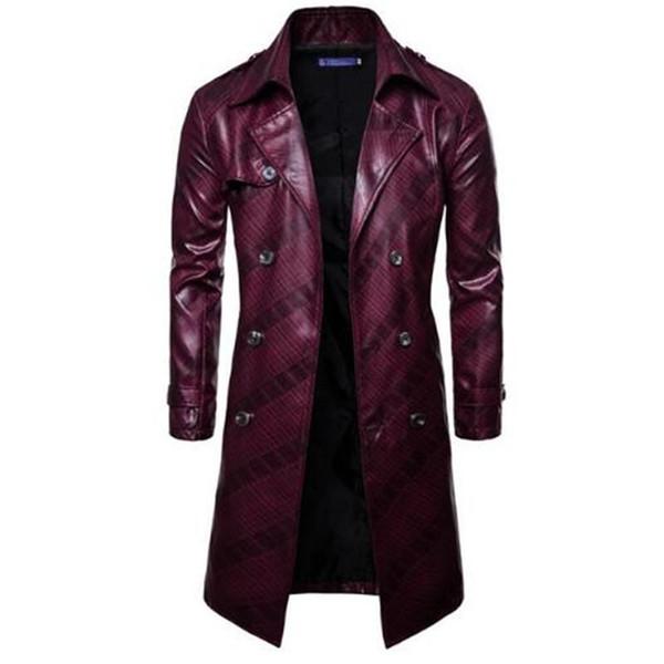 Pu Windshield Rainproof Leather Coat Nice Pop Fashion Double Breasted Long Sleeved Windbreaker Mens Long Coat