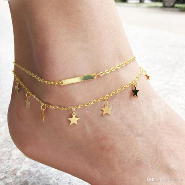 1Pcs Women Silver & Gold Plated Anklet Bead Ankle Bracelet Fashion For Women New Foot Jewelry Hot Sale Body Chains