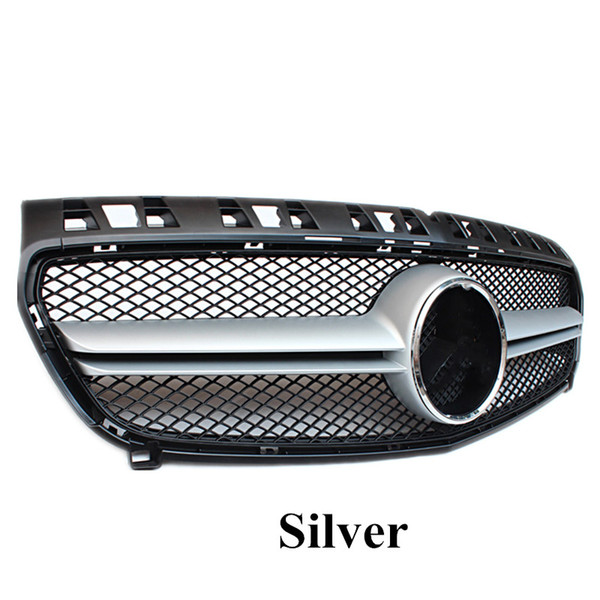 best selling Top quality 1 PCS Black Front Racing Grill Grilles Replacement Silver ABS Car Kidney Grills For A CLASS W176