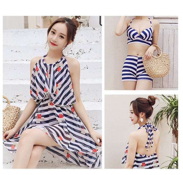 New Women Bikini Swimsuit sexy Sweet Skirt Small Breast Three-piece Suits Hot Spring Wading Exercise With Chest Pad ZH0002