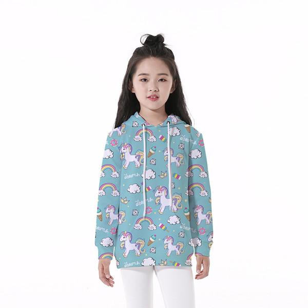 Sweat à capuche pour enfants Licorne Rainbow 3D Numérique Imprimé Complet Décontracté Garçon Fille Pulls à capuche Sweat-shirts à manches longues pour enfants (RLCLM-55021)