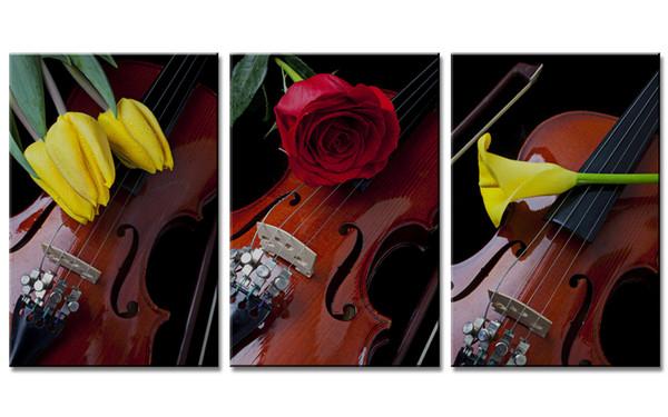 Hiçbir Çerçeveli 3 Parça Modern Keman Lale ve Gül Zambak Çiçekler Dekoratif boyama Ev Yatak Odası Dekor için Sanat Eserleri Tuval Duvar Sanatı hediye