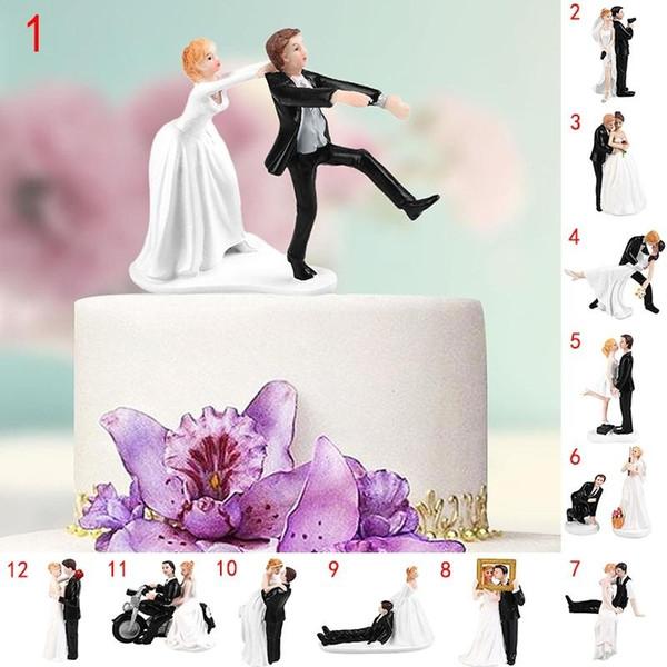 12 Tipos Elegante Sintética Resina de Noiva Do Noivo Bolo Topper 2019 Decoração Do Casamento Estatueta Presente Produtos Do Casamento LOL