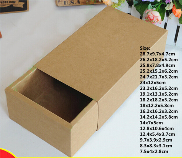 25 sizes Brown packaging drawer box for gift, kraft paper shoes clothes jewelry sliding gift boxes carton folding storage box
