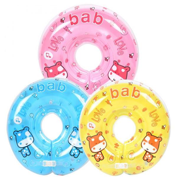 Bebé natación cuello flotador inflables anillo ajustable cuello de seguridad bebé bañarse música anillos de natación para niños